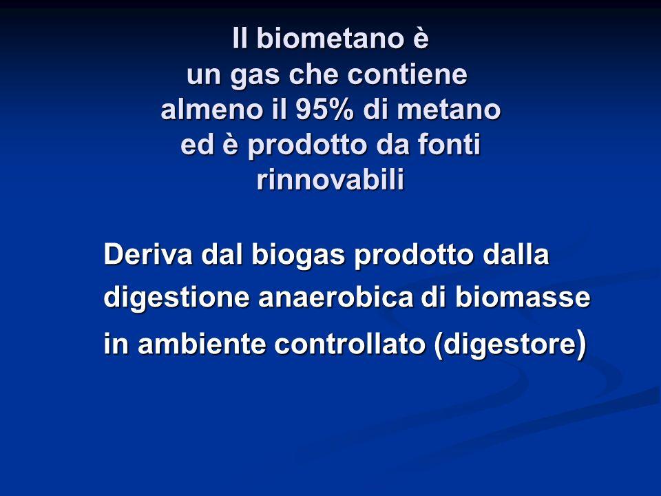 Il biometano è un gas che contiene almeno il 95% di metano ed è prodotto da fonti rinnovabili
