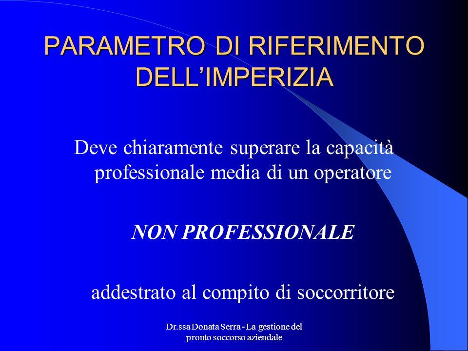 PARAMETRO DI RIFERIMENTO DELL'IMPERIZIA