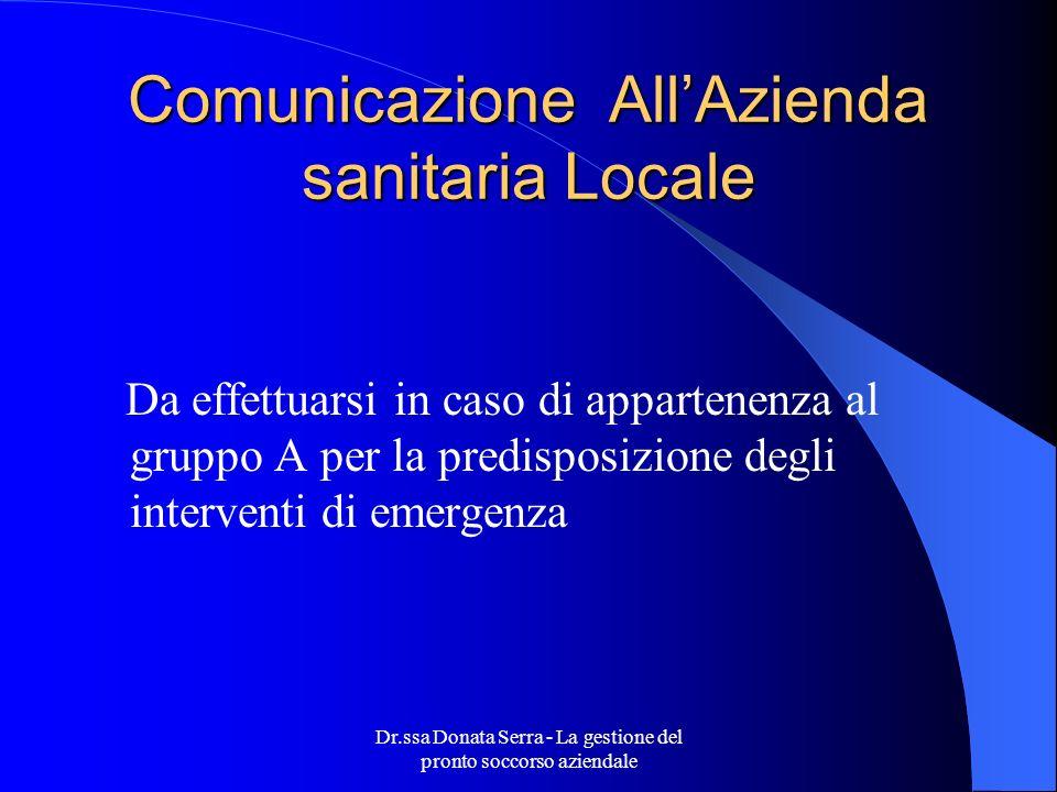 Comunicazione All'Azienda sanitaria Locale