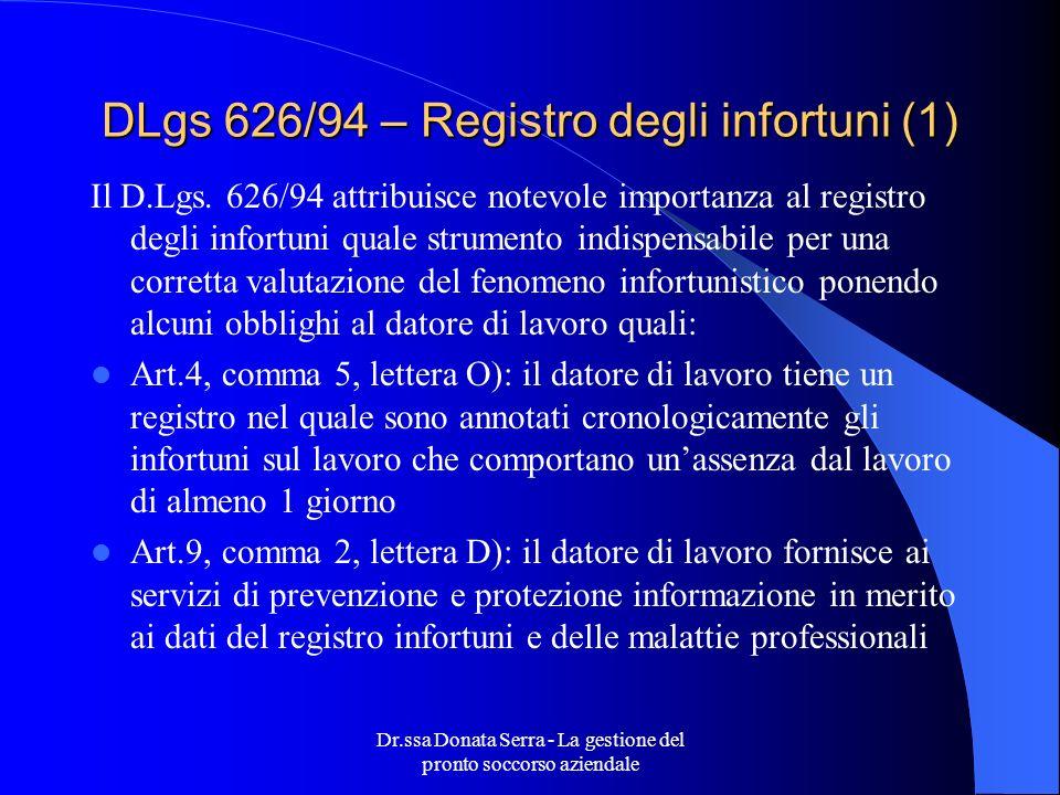 DLgs 626/94 – Registro degli infortuni (1)