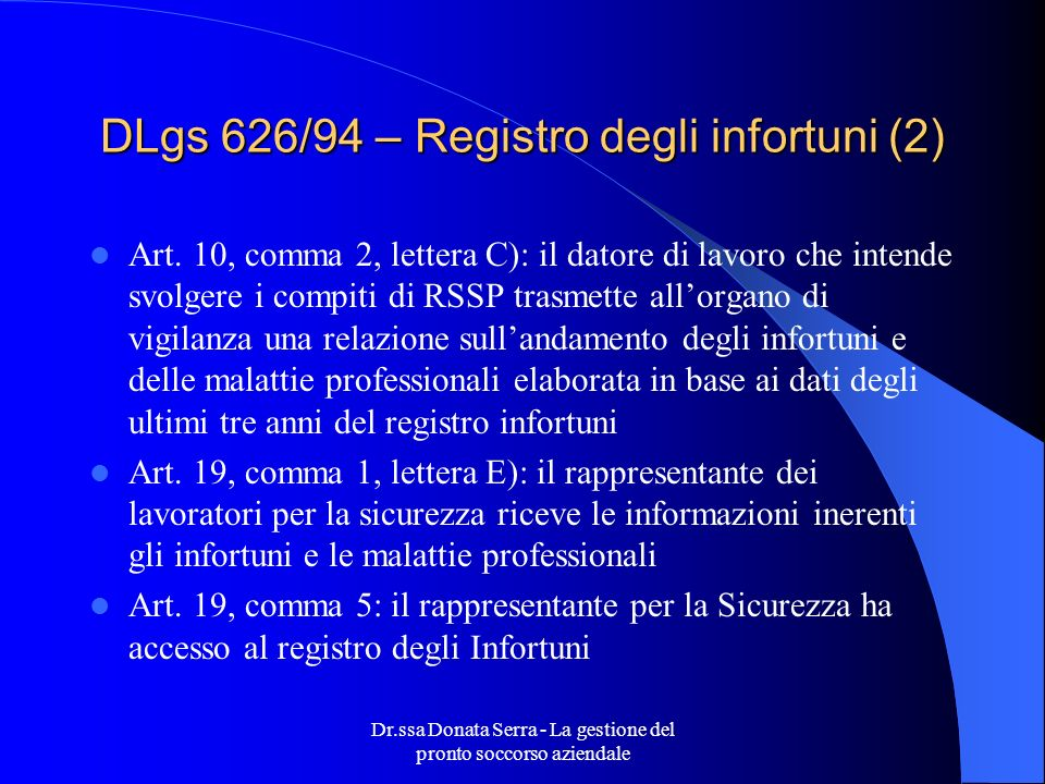 DLgs 626/94 – Registro degli infortuni (2)