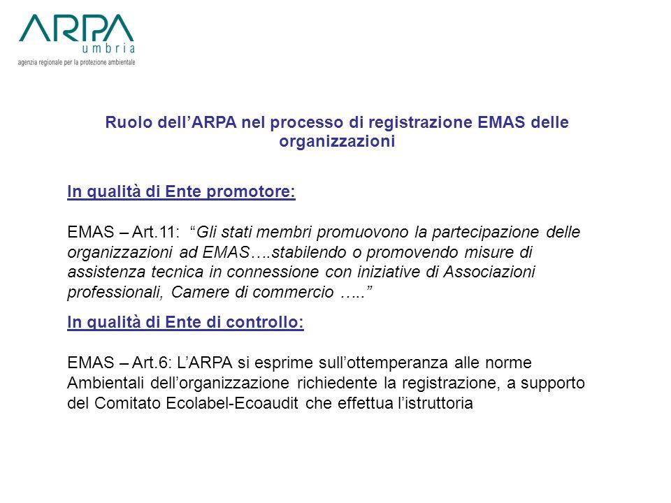 Ruolo dell'ARPA nel processo di registrazione EMAS delle organizzazioni