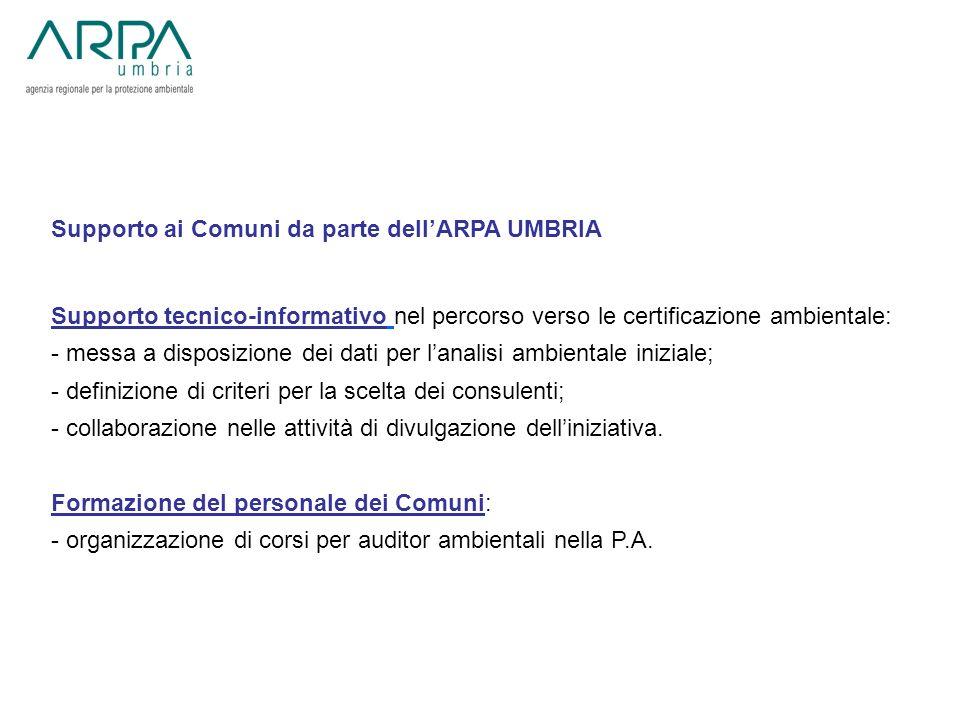 Supporto ai Comuni da parte dell'ARPA UMBRIA
