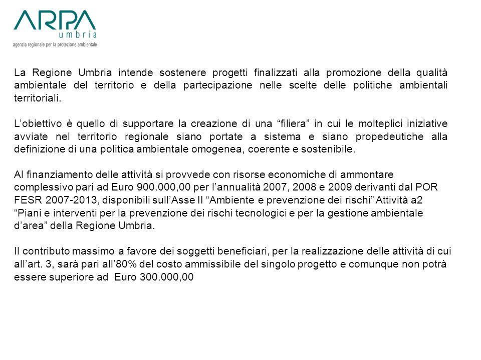 La Regione Umbria intende sostenere progetti finalizzati alla promozione della qualità ambientale del territorio e della partecipazione nelle scelte delle politiche ambientali territoriali.