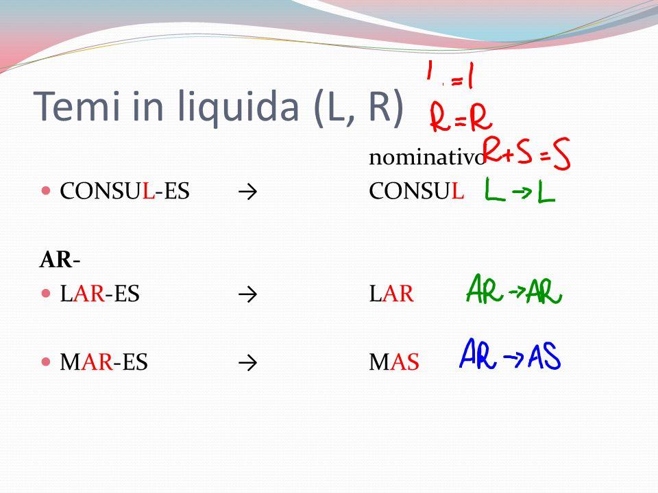 Temi in liquida (L, R) nominativo CONSUL-ES → CONSUL AR- LAR-ES → LAR