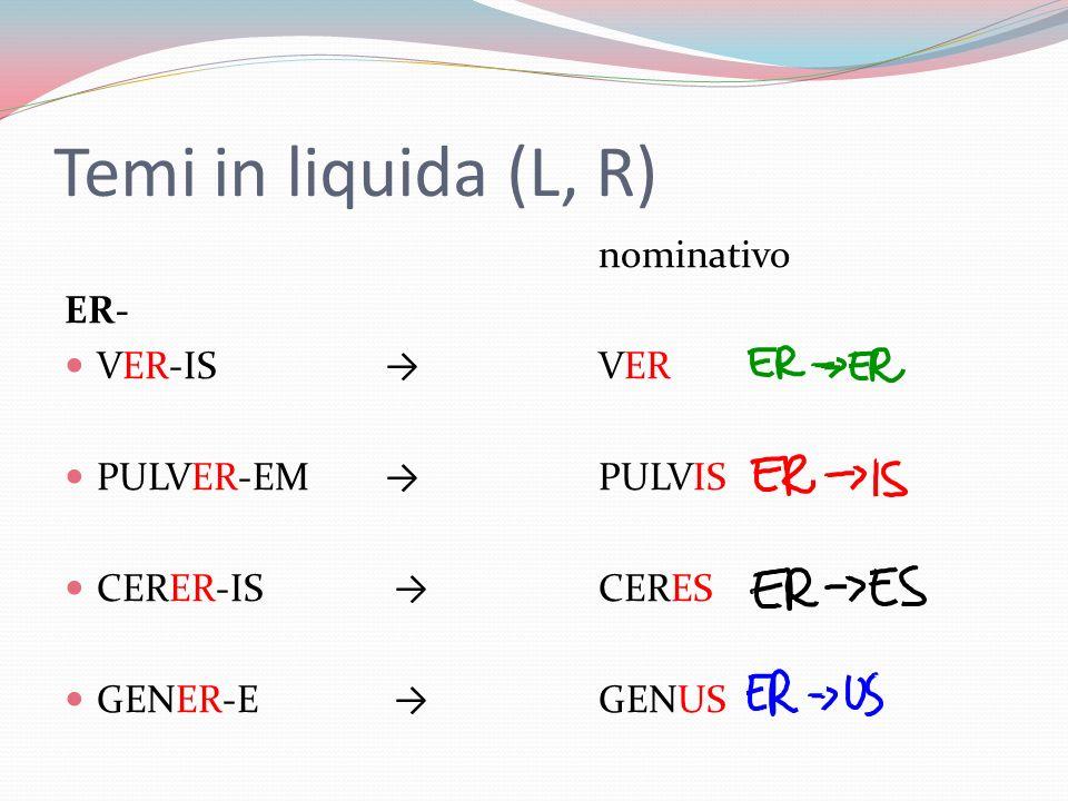 Temi in liquida (L, R) nominativo ER- VER-IS → VER PULVER-EM → PULVIS