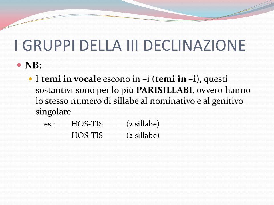 I GRUPPI DELLA III DECLINAZIONE