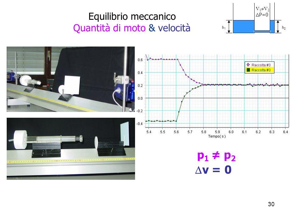 Equilibrio meccanico Quantità di moto & velocità