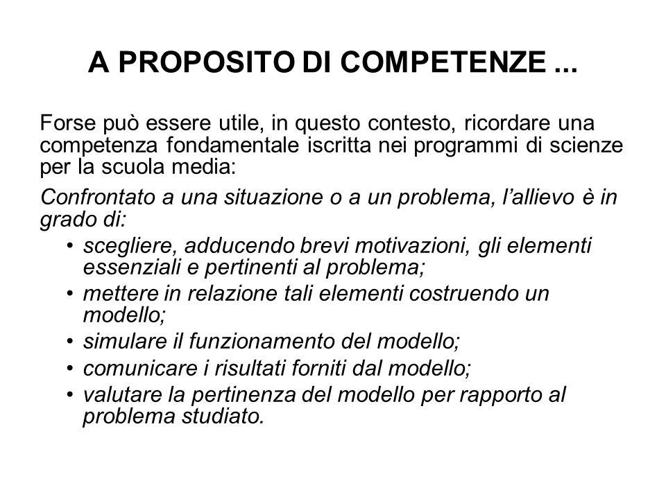 A PROPOSITO DI COMPETENZE ...