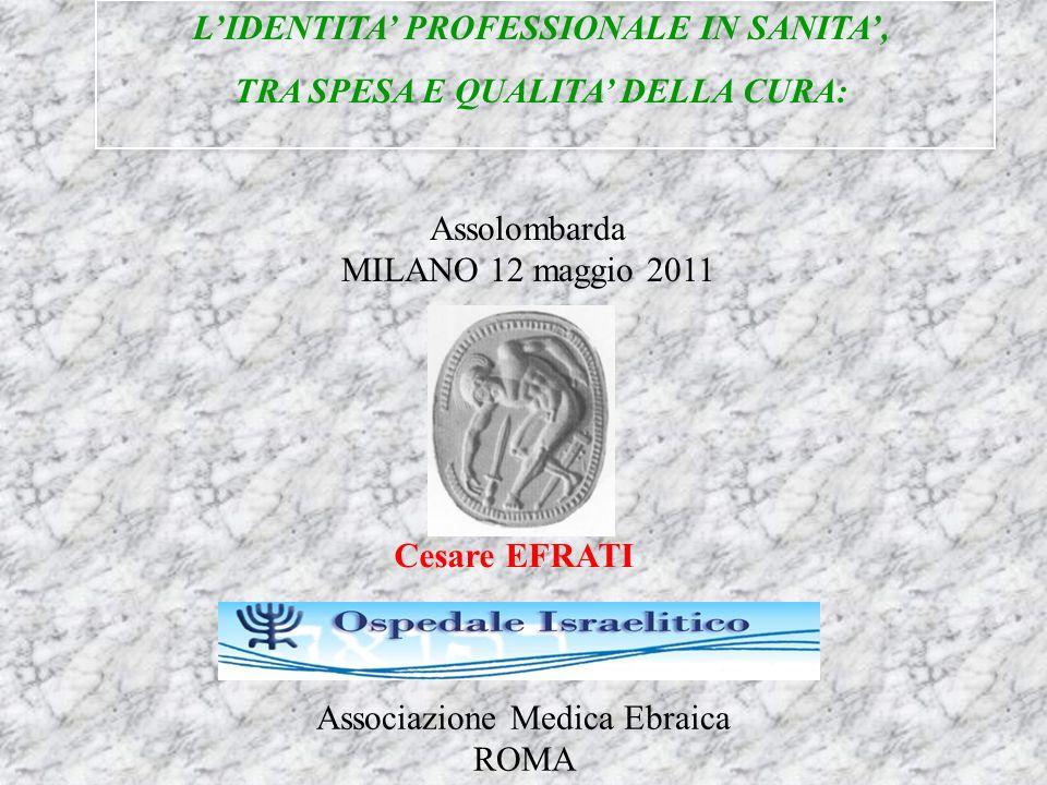 L'IDENTITA' PROFESSIONALE IN SANITA', TRA SPESA E QUALITA' DELLA CURA: