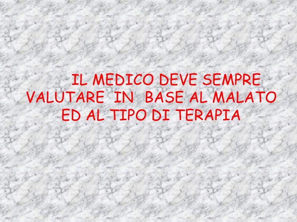 IL MEDICO DEVE SEMPRE VALUTARE IN BASE AL MALATO ED AL TIPO DI TERAPIA