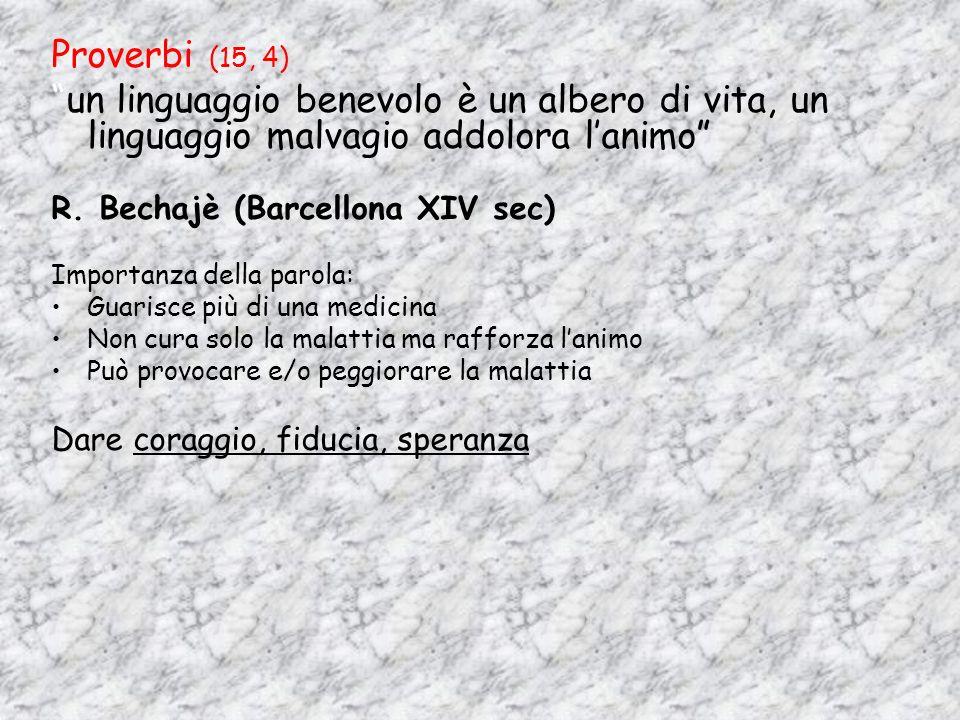 Proverbi (15, 4) un linguaggio benevolo è un albero di vita, un linguaggio malvagio addolora l'animo
