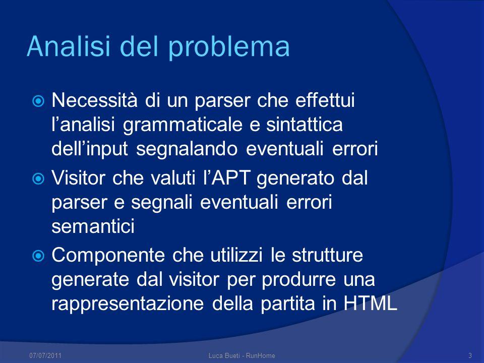 Analisi del problema Necessità di un parser che effettui l'analisi grammaticale e sintattica dell'input segnalando eventuali errori.
