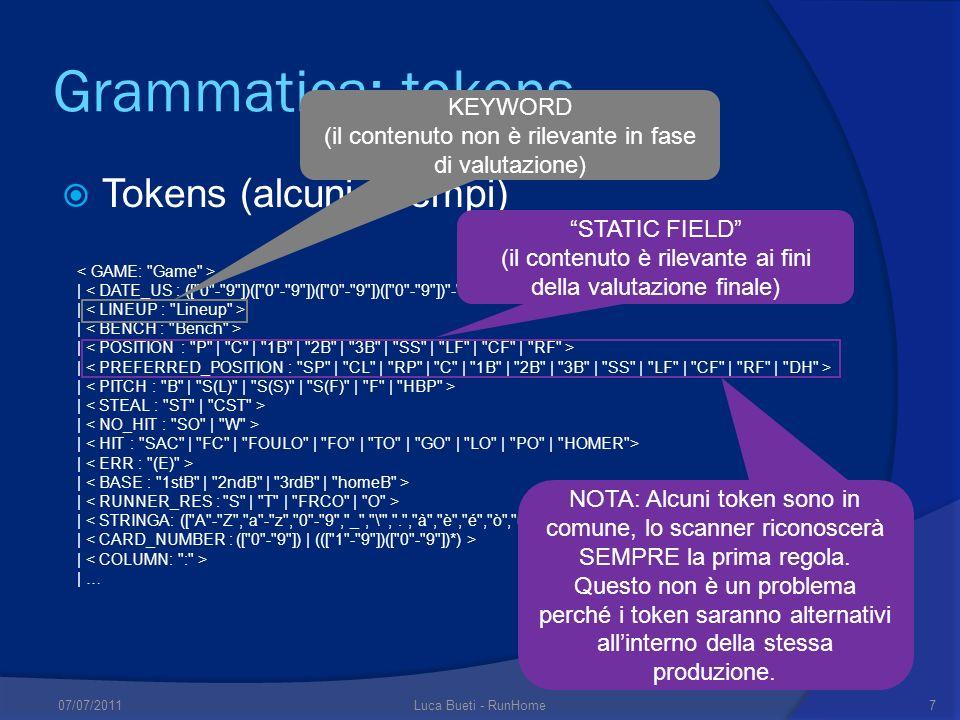 Grammatica: tokens Tokens (alcuni esempi) KEYWORD