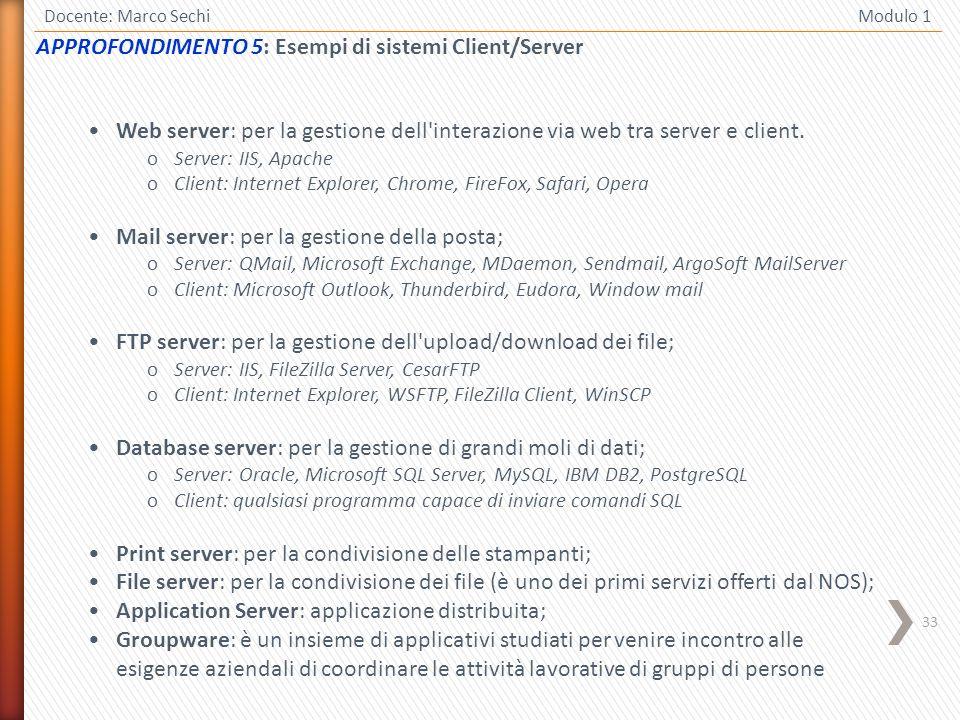 APPROFONDIMENTO 5: Esempi di sistemi Client/Server