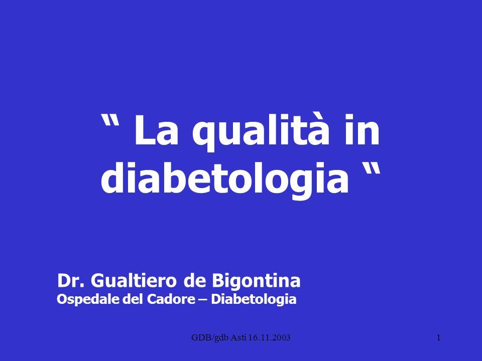 La qualità in diabetologia