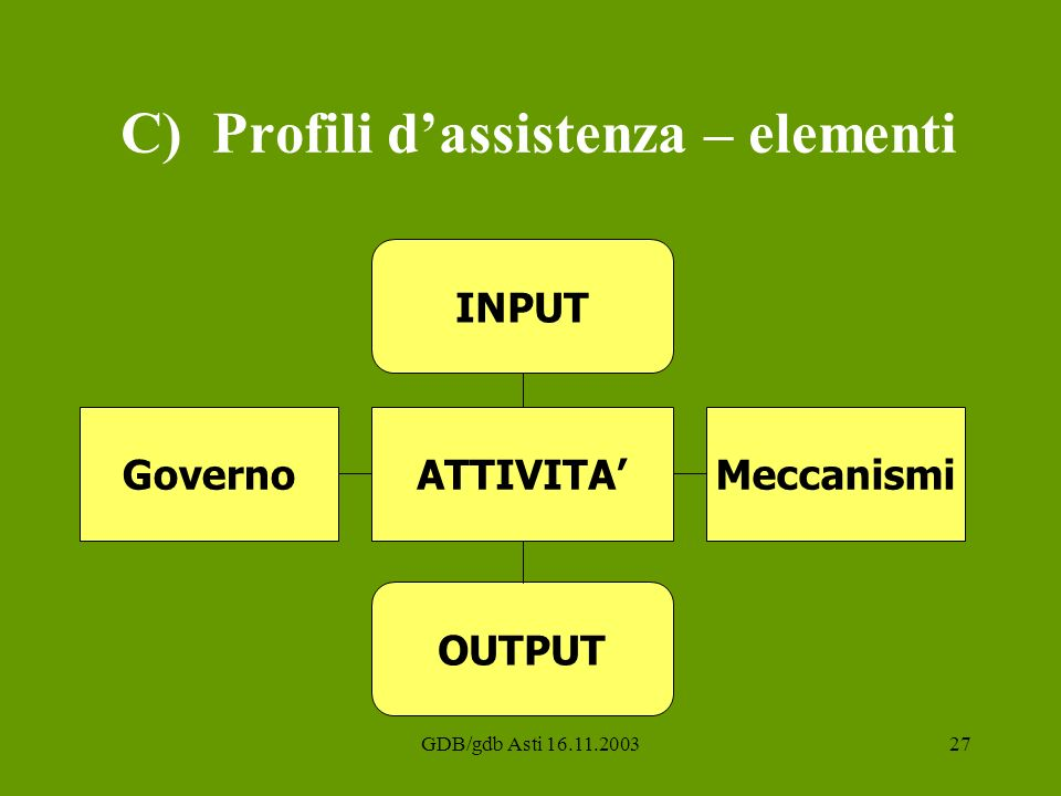 C) Profili d'assistenza – elementi