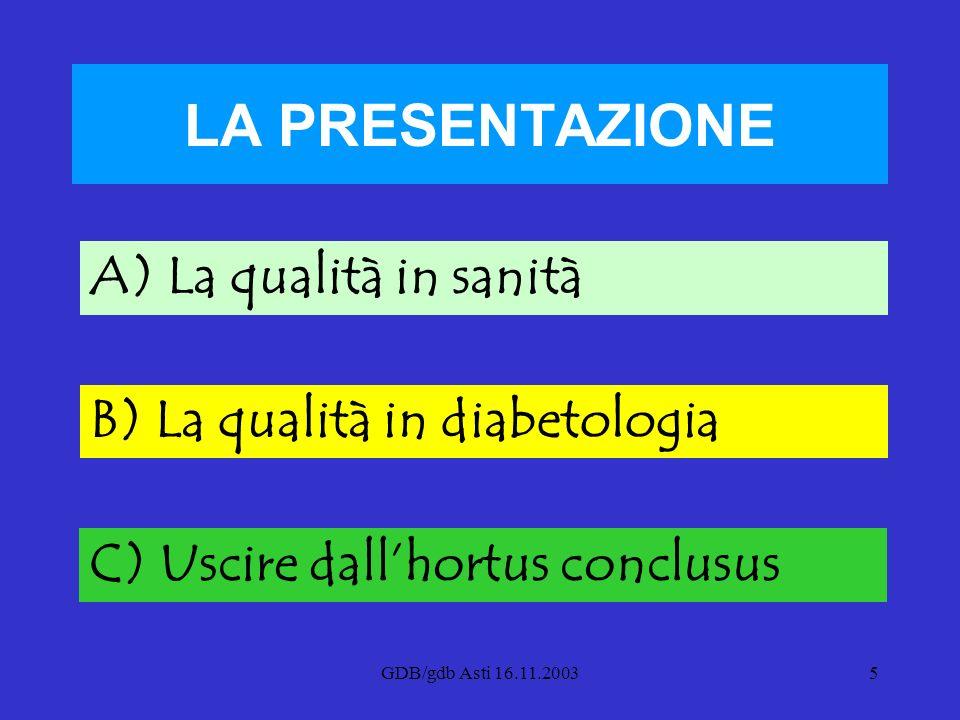 LA PRESENTAZIONE A) La qualità in sanità B) La qualità in diabetologia