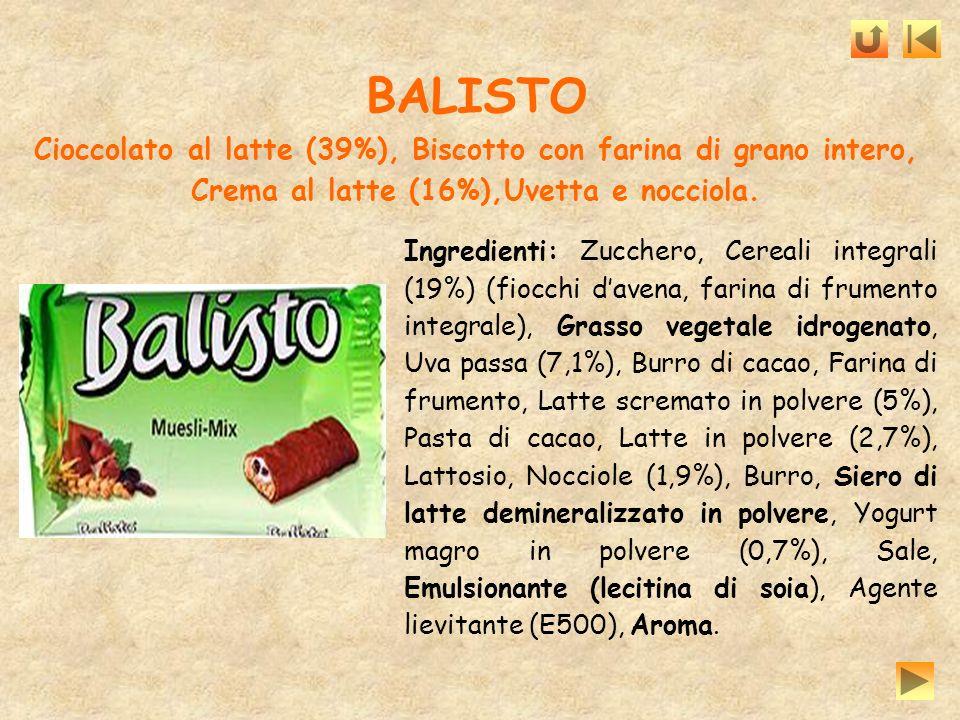BALISTO Cioccolato al latte (39%), Biscotto con farina di grano intero, Crema al latte (16%),Uvetta e nocciola.