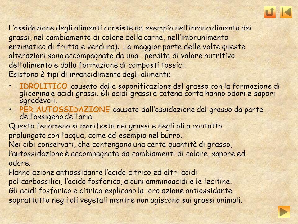 L'ossidazione degli alimenti consiste ad esempio nell'irrancidimento dei