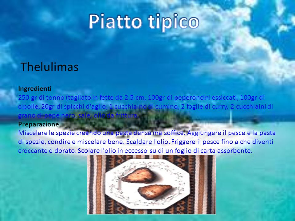 Piatto tipico Thelulimas Ingredienti