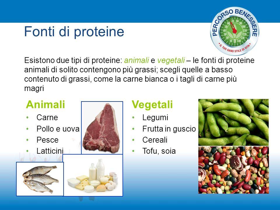 Fonti di proteine Animali Vegetali