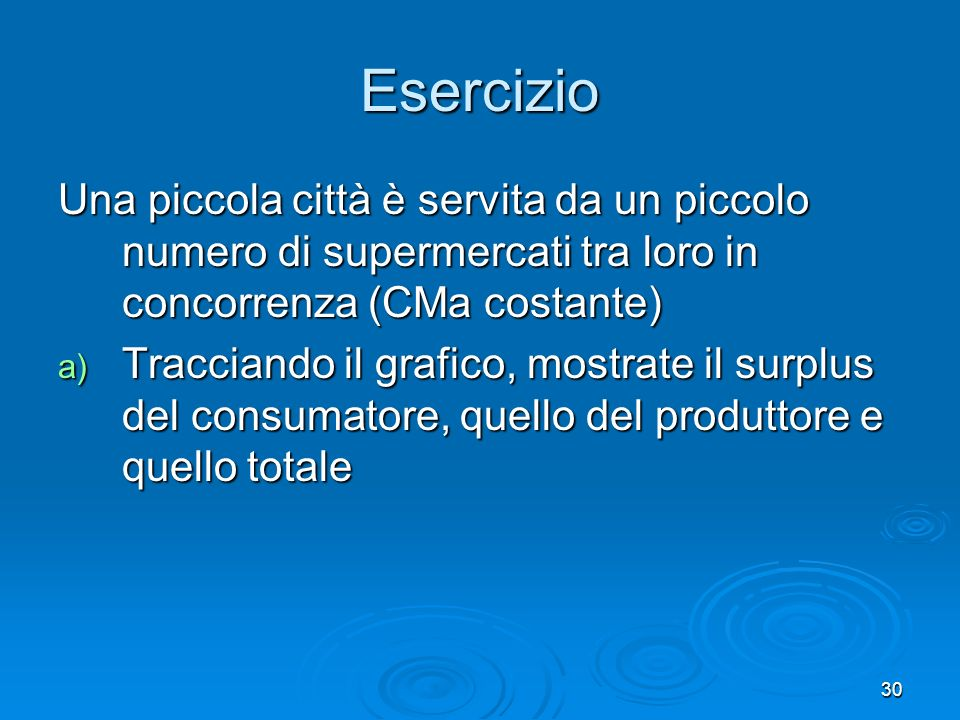 Esercizio Una piccola città è servita da un piccolo numero di supermercati tra loro in concorrenza (CMa costante)