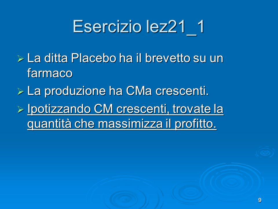 Esercizio lez21_1 La ditta Placebo ha il brevetto su un farmaco