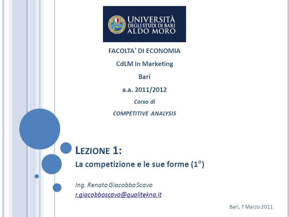 Lezione 1: La competizione e le sue forme (1°) FACOLTA' DI ECONOMIA