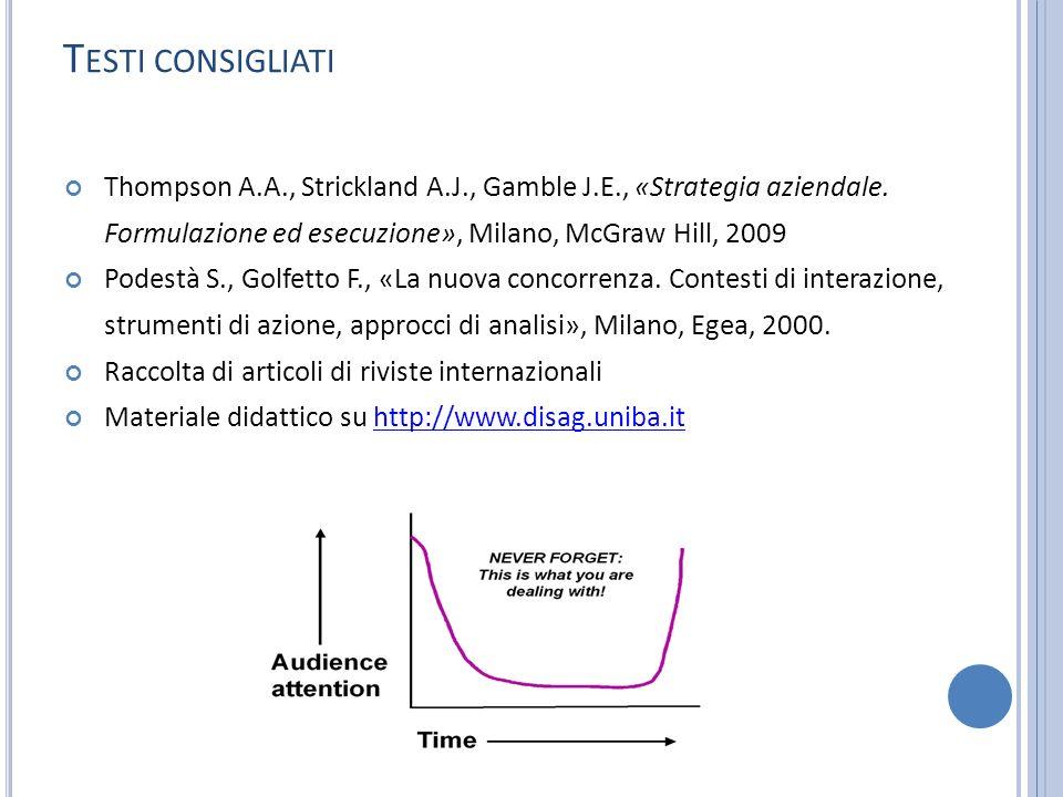 Testi consigliati Thompson A.A., Strickland A.J., Gamble J.E., «Strategia aziendale. Formulazione ed esecuzione», Milano, McGraw Hill, 2009.