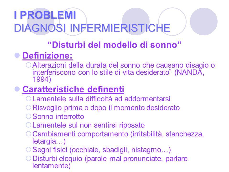 I PROBLEMI DIAGNOSI INFERMIERISTICHE