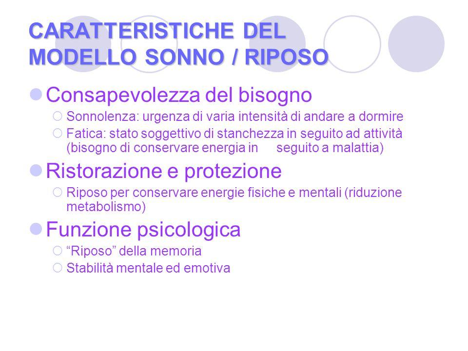 CARATTERISTICHE DEL MODELLO SONNO / RIPOSO