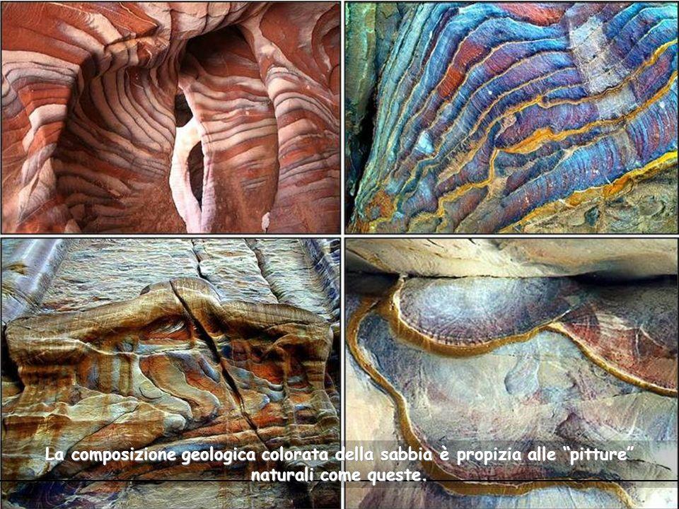 La composizione geologica colorata della sabbia è propizia alle pitture