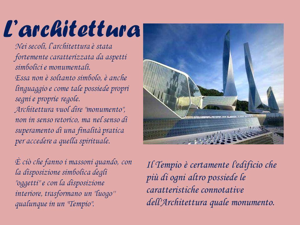L'architettura Nei secoli, l'architettura è stata fortemente caratterizzata da aspetti simbolici e monumentali.