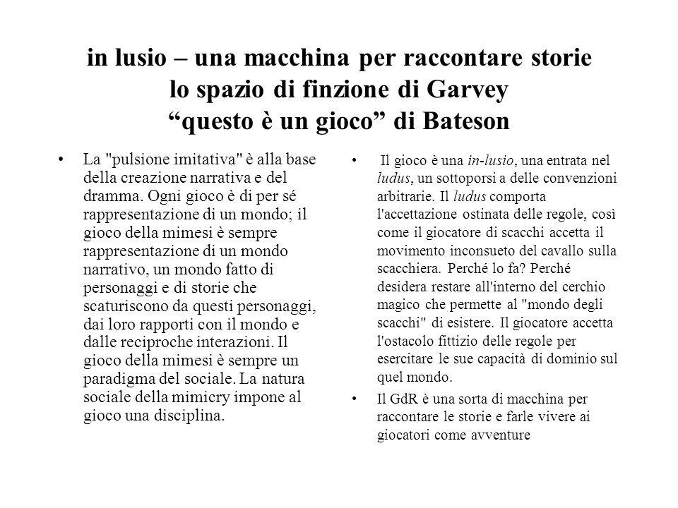 in lusio – una macchina per raccontare storie lo spazio di finzione di Garvey questo è un gioco di Bateson