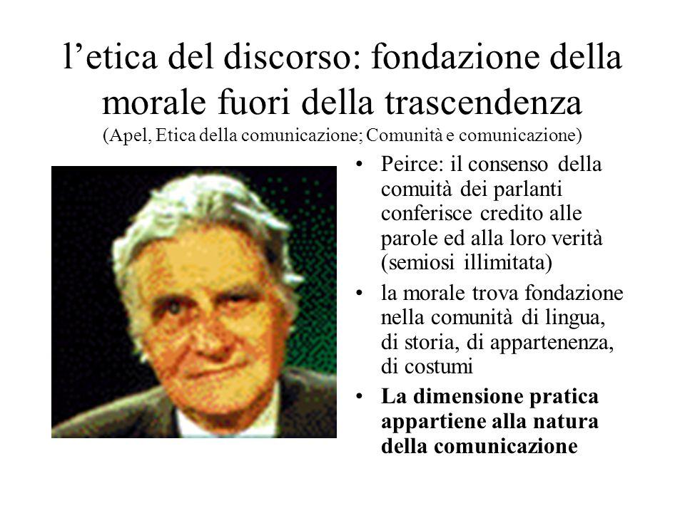 l'etica del discorso: fondazione della morale fuori della trascendenza (Apel, Etica della comunicazione; Comunità e comunicazione)