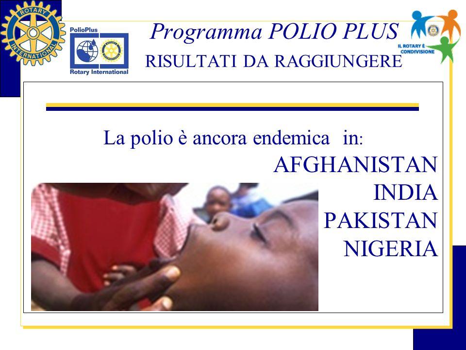 Programma POLIO PLUS RISULTATI DA RAGGIUNGERE