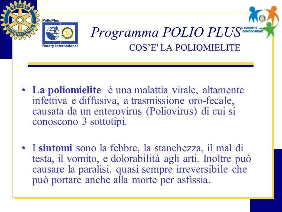 Programma POLIO PLUS COS'E LA POLIOMIELITE