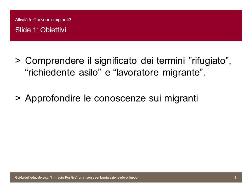 Attività 5: Chi sono i migranti Slide 1: Obiettivi