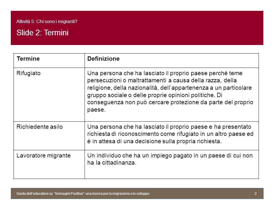 Attività 5: Chi sono i migranti Slide 2: Termini
