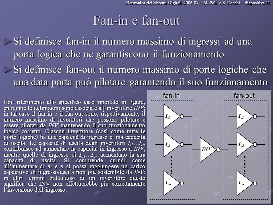 Fan-in e fan-out Si definisce fan-in il numero massimo di ingressi ad una porta logica che ne garantiscono il funzionamento.