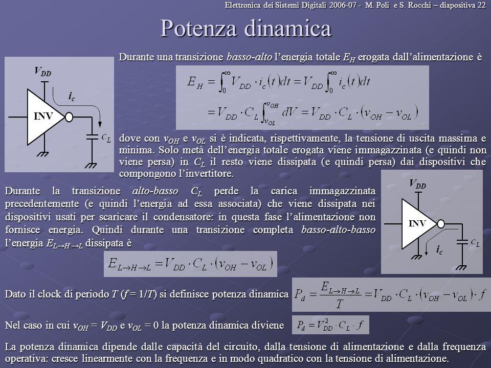 Potenza dinamica Durante una transizione basso-alto l'energia totale EH erogata dall'alimentazione è.