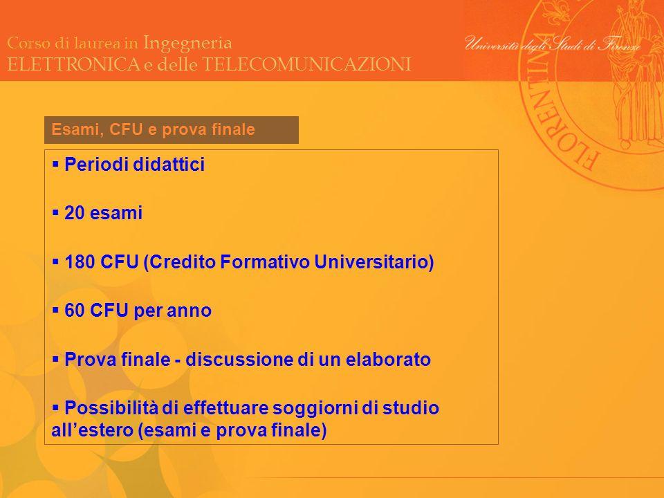 180 CFU (Credito Formativo Universitario) 60 CFU per anno