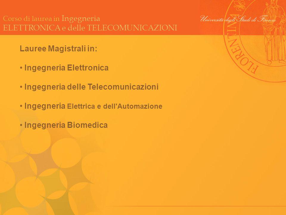 Lauree Magistrali in: Ingegneria Elettronica. Ingegneria delle Telecomunicazioni. Ingegneria Elettrica e dell Automazione.