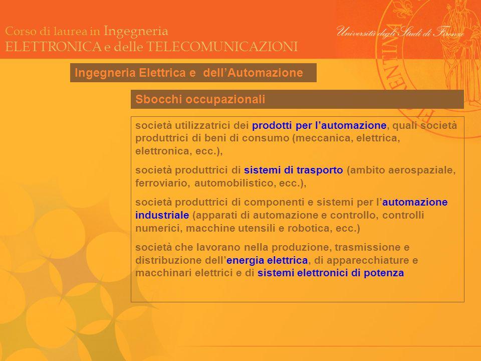 Ingegneria Automatica Ingegneria Elettrica e dell'Automazione