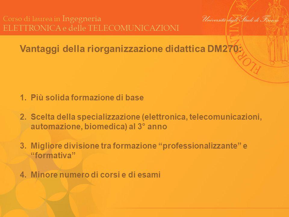 Vantaggi della riorganizzazione didattica DM270: