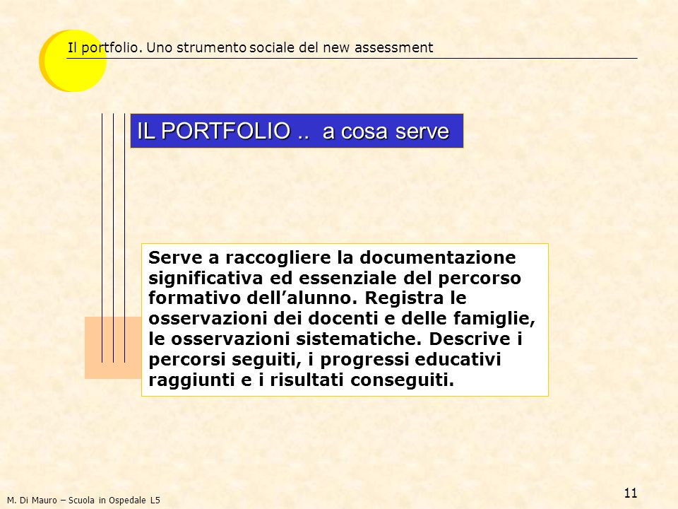 IL PORTFOLIO .. a cosa serve