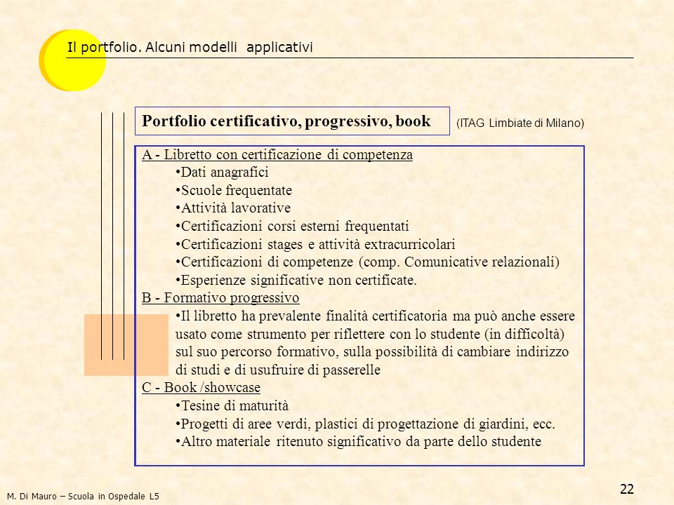 Portfolio certificativo, progressivo, book