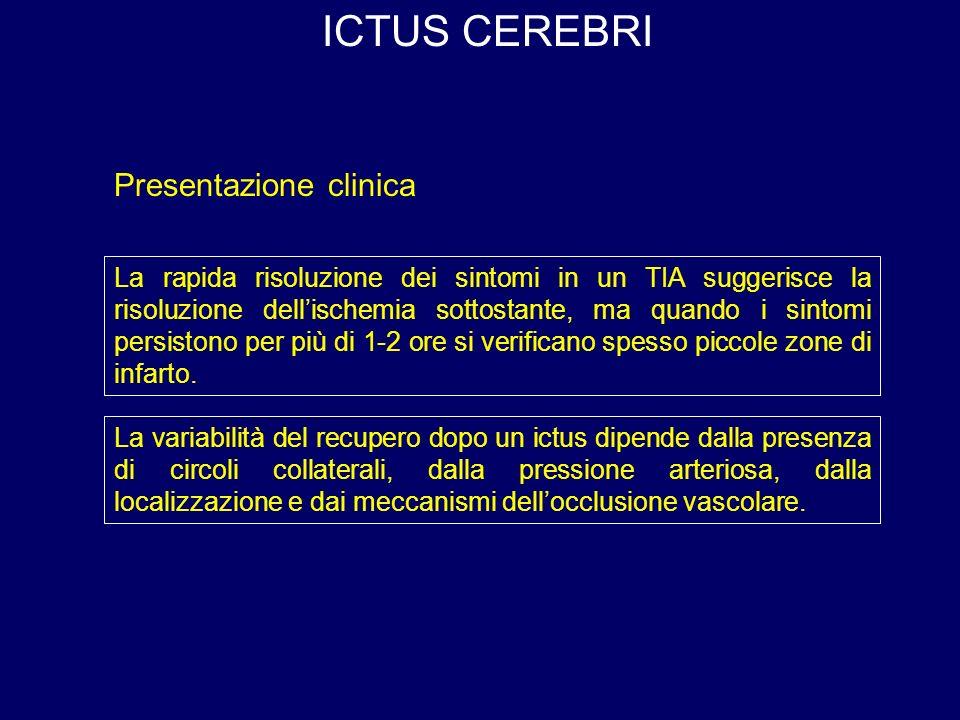 ICTUS CEREBRI Presentazione clinica