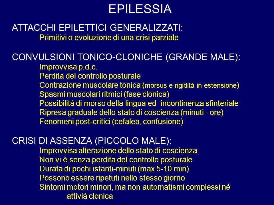 EPILESSIA ATTACCHI EPILETTICI GENERALIZZATI: